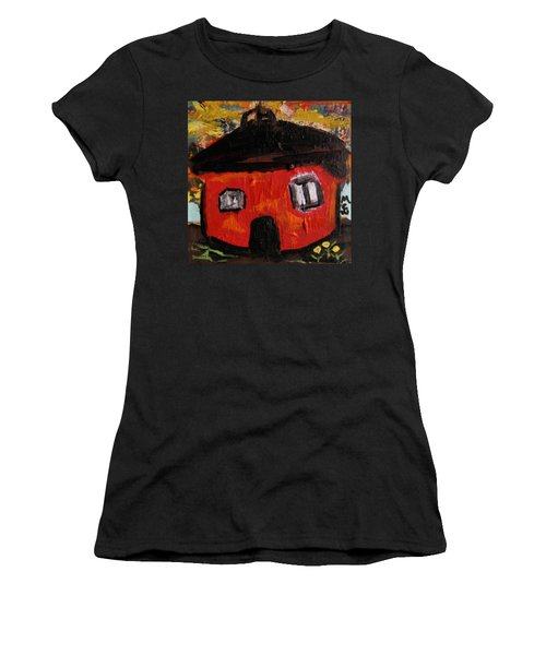 Women's T-Shirt (Junior Cut) featuring the painting Dandelions By Red Barn By Mcw by Mary Carol Williams