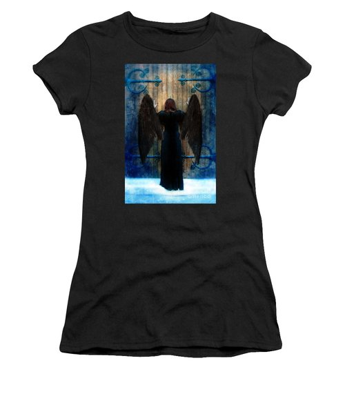 Dark Angel At Church Doors Women's T-Shirt (Athletic Fit)