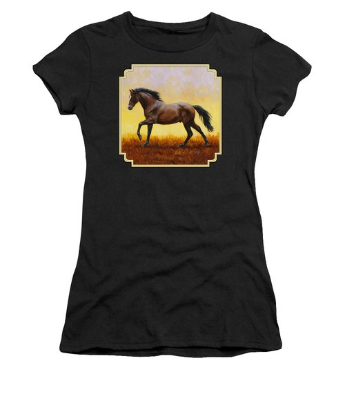 Dark Bay Running Horse Yellow Women's T-Shirt (Athletic Fit)