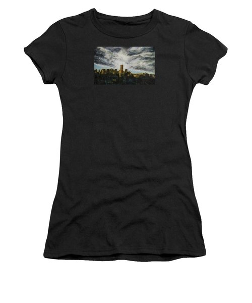 Women's T-Shirt (Junior Cut) featuring the painting Dark Clouds Approaching by Ron Richard Baviello