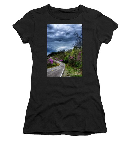Women's T-Shirt (Junior Cut) featuring the photograph Dark Clouds Over Redbud Highway by Thomas R Fletcher