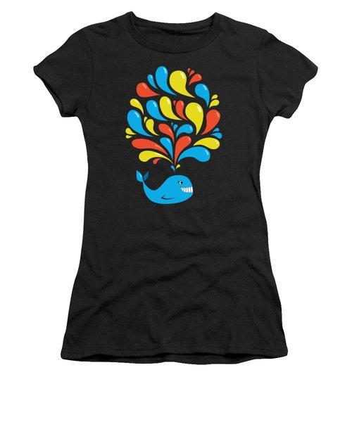 Dark Colorful Splash Happy Cartoon Whale Women's T-Shirt (Athletic Fit)