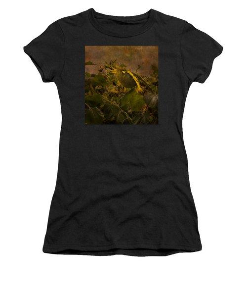 Dark Textured Sunflower Women's T-Shirt (Athletic Fit)