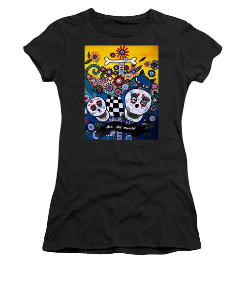 Women's T-Shirt (Junior Cut) featuring the painting Day Of The Dead by Pristine Cartera Turkus