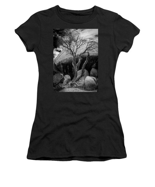 Dead Tree And Boulder At Joshua Tree Women's T-Shirt (Athletic Fit)