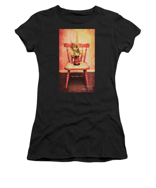 Decorated Flower Bunch On Old Wooden Chair Women's T-Shirt