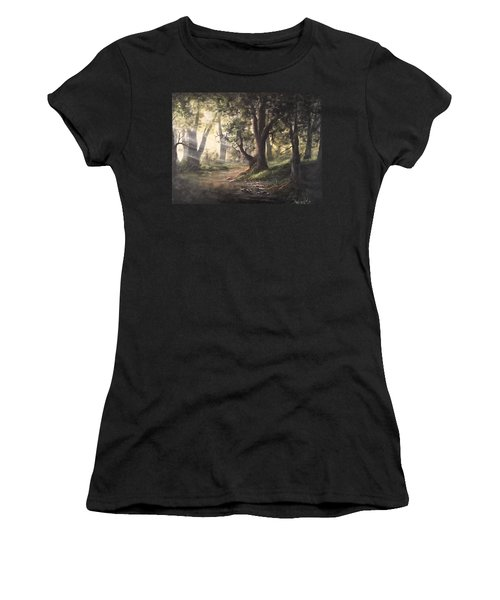 Deep Forest Rays  Women's T-Shirt (Athletic Fit)