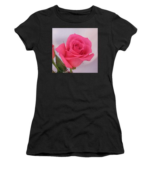 Single Deep Pink Rose Women's T-Shirt (Athletic Fit)