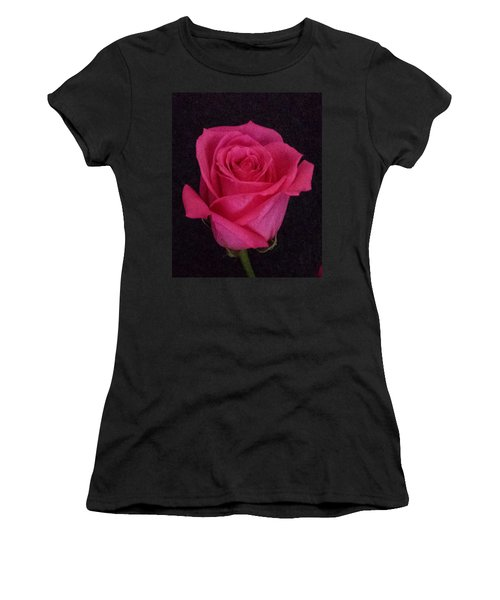Deep Pink Rose On Black Women's T-Shirt