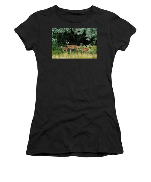 Women's T-Shirt (Junior Cut) featuring the photograph Deer Mom by Larry Campbell