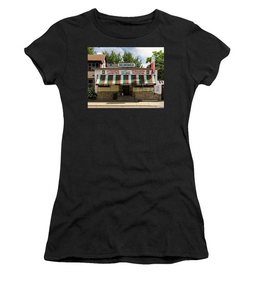 Women's T-Shirt featuring the photograph Delmonico's Italian Market by Mike Evangelist
