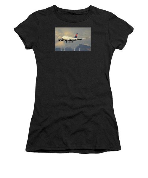 Delta Boeing 747-451 N668us Phoenix Sky Harbor January 8 2015 Women's T-Shirt (Athletic Fit)