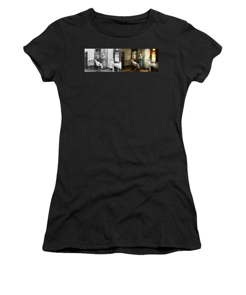 Women's T-Shirt (Athletic Fit) featuring the photograph Dentist - Patients Is A Virtue 1920 - Side By Side by Mike Savad