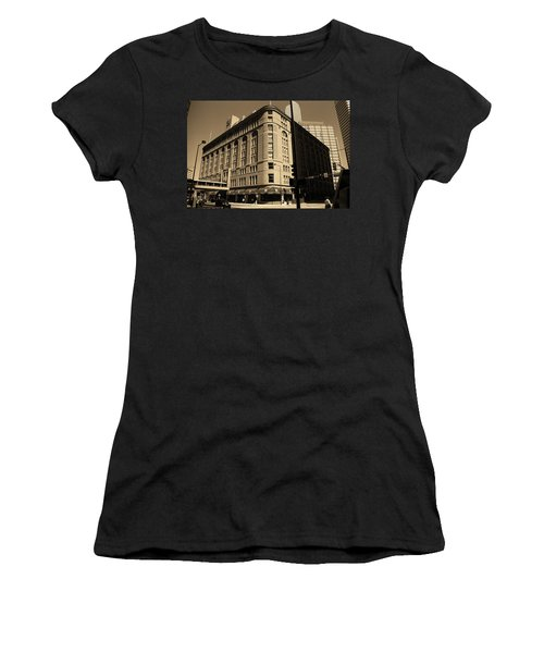 Women's T-Shirt (Junior Cut) featuring the photograph Denver Downtown Sepia by Frank Romeo