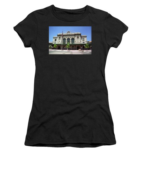 Women's T-Shirt (Junior Cut) featuring the photograph Denver - Union Station Film by Frank Romeo