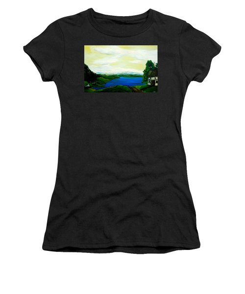 83e029bba9864 Women's T-Shirt featuring the painting Der Bodensee by Robert Roth