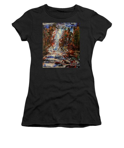 Women's T-Shirt featuring the painting Desert Oasis Waterfall by Reed Novotny