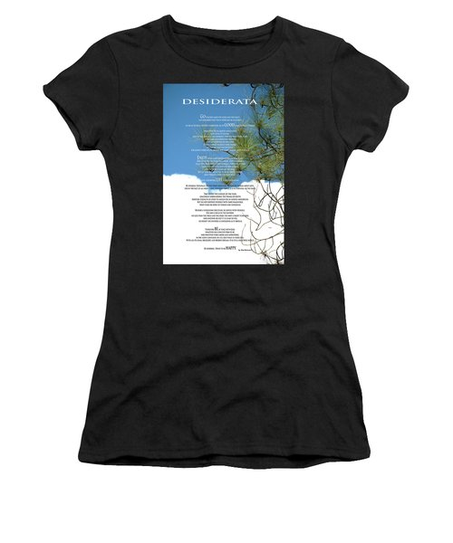 Desiderata Poem Over Sky With Clouds And Tree Branches Women's T-Shirt (Athletic Fit)