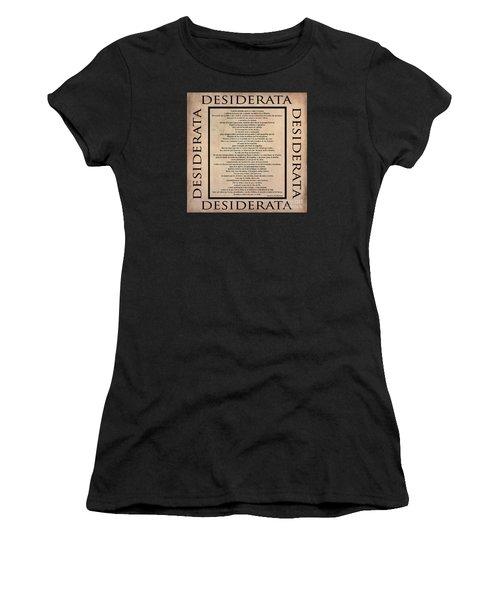 Desiderata - Spanish- Poema Escrito Por Max Ehrmann Women's T-Shirt (Athletic Fit)