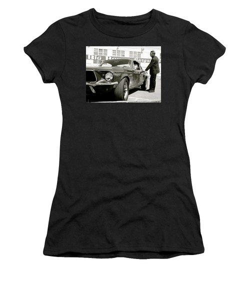 Detective Lieutenant Frank Bullitt, Steve Mcqueen, 1968 Ford Mustang Gt 390 Women's T-Shirt