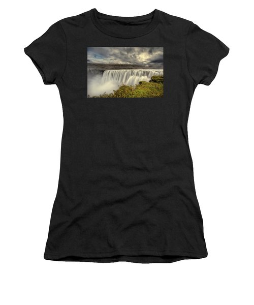 Women's T-Shirt (Athletic Fit) featuring the photograph Dettifoss Before The Storm by Rikk Flohr