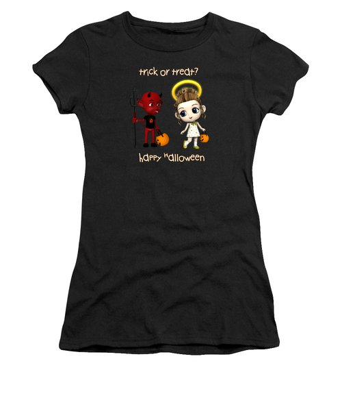 Devil Or Angel Trick Or Treat Women's T-Shirt (Junior Cut) by Methune Hively
