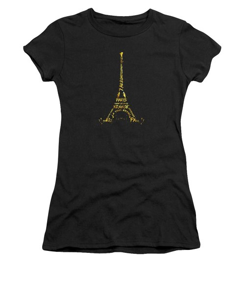 Digital-art Eiffel Tower - Black And Golden Women's T-Shirt (Junior Cut) by Melanie Viola