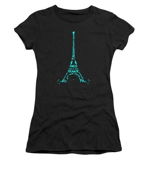 Digital-art Eiffel Tower Cyan Women's T-Shirt