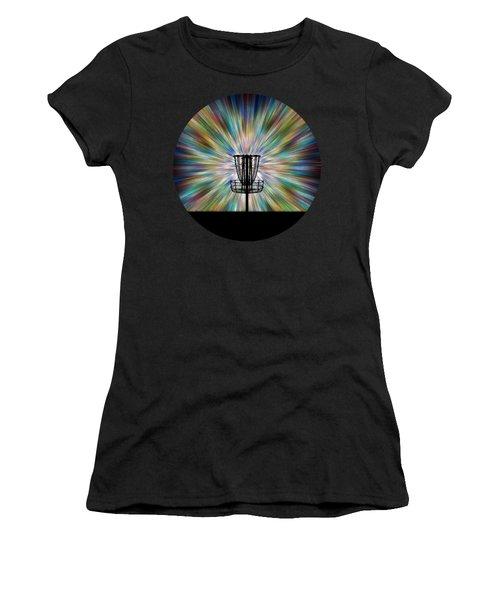 Disc Golf Basket Silhouette Women's T-Shirt (Junior Cut) by Phil Perkins