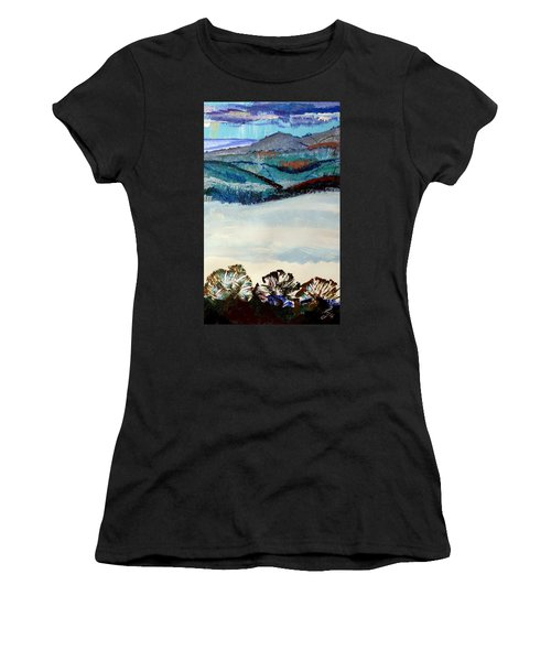 Distant Hills And Mist In The Lowlands Landscape Women's T-Shirt