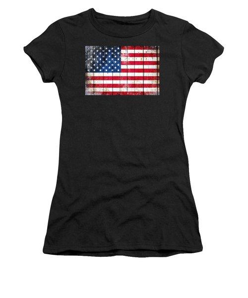 Distressed American Flag On Wood Planks - Horizontal Women's T-Shirt
