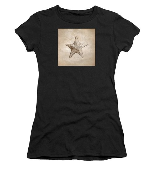 Distressed Antique Nautical Starfish Women's T-Shirt (Athletic Fit)