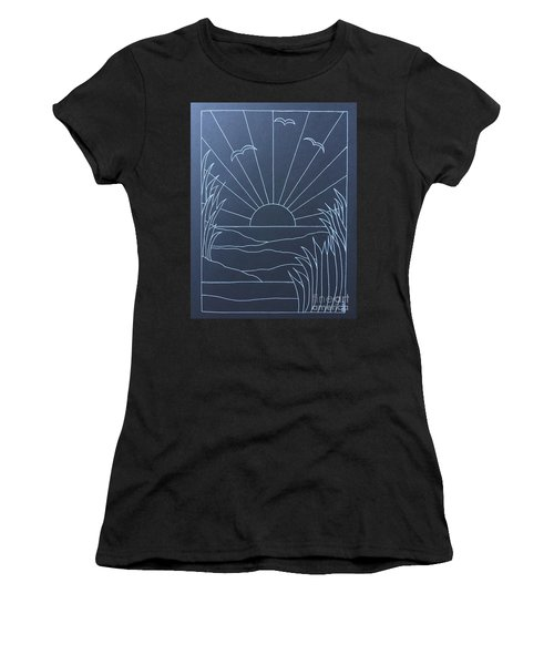 Diy Stained Glass Sunset Painting  Women's T-Shirt
