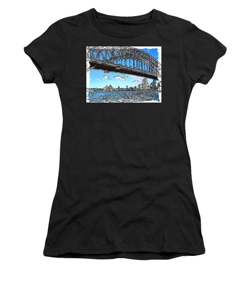Women's T-Shirt (Junior Cut) featuring the photograph Do-00058 Sydney Harbour Bridge And Opera House by Digital Oil