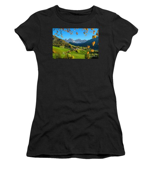 Dolomites Mountain Village In Autumn In Italy Women's T-Shirt (Athletic Fit)