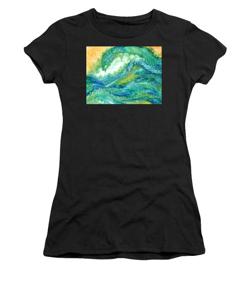 Women's T-Shirt featuring the mixed media Dolphin Waves 2 by Carol Cavalaris