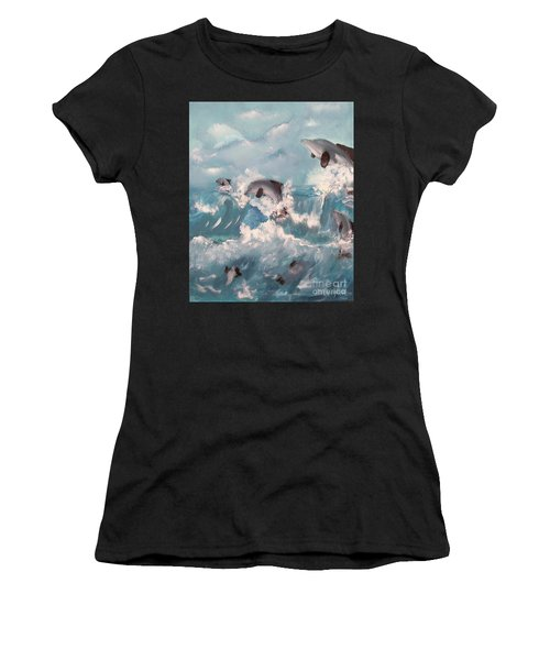 Dolphins At Play Women's T-Shirt (Athletic Fit)