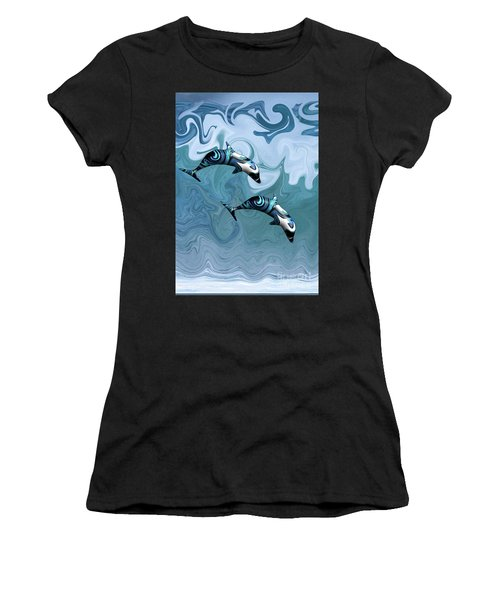 Dolphins Playing In The Waves Women's T-Shirt