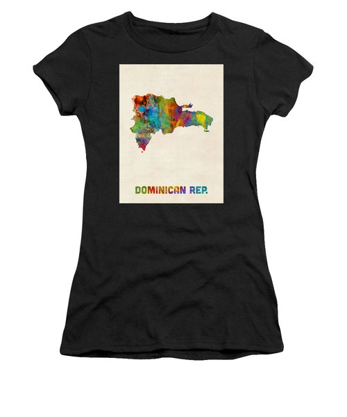 Dominican Republic Watercolor Map Women's T-Shirt