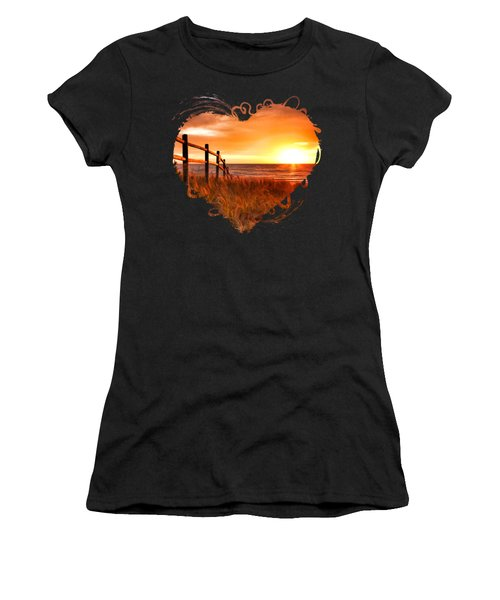 Door County Europe Bay Fence Sunrise Women's T-Shirt