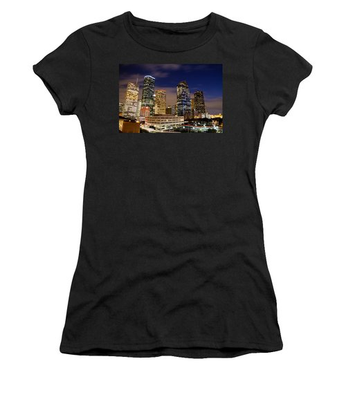 Downtown Houston At Night Women's T-Shirt (Athletic Fit)
