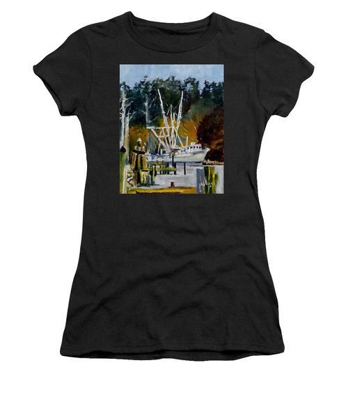 Women's T-Shirt (Junior Cut) featuring the painting Downtown Parking by Jim Phillips