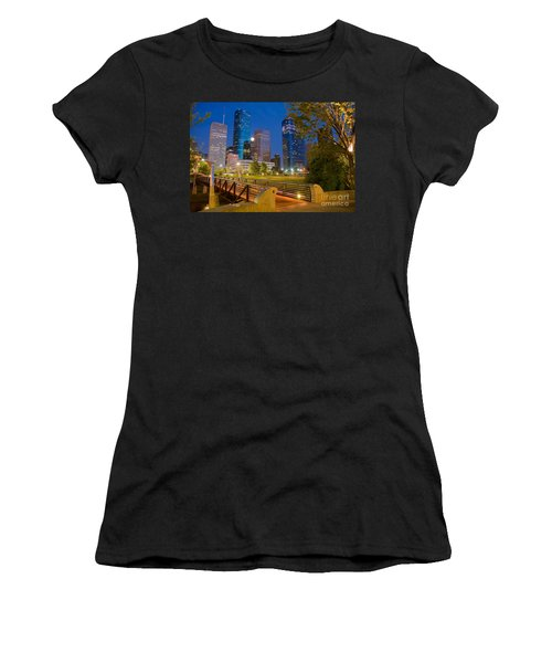 Dowtown Houston By Night Women's T-Shirt (Athletic Fit)