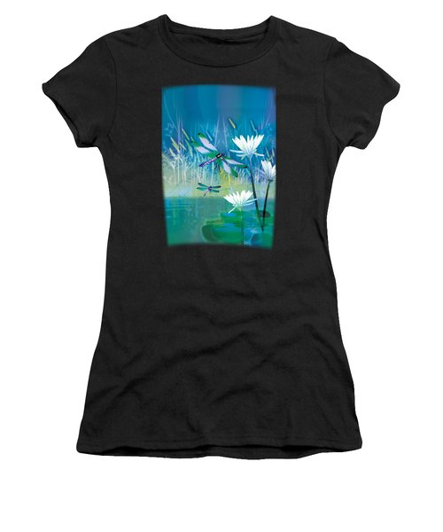 Dragonfleis On Blue Pond Women's T-Shirt (Athletic Fit)