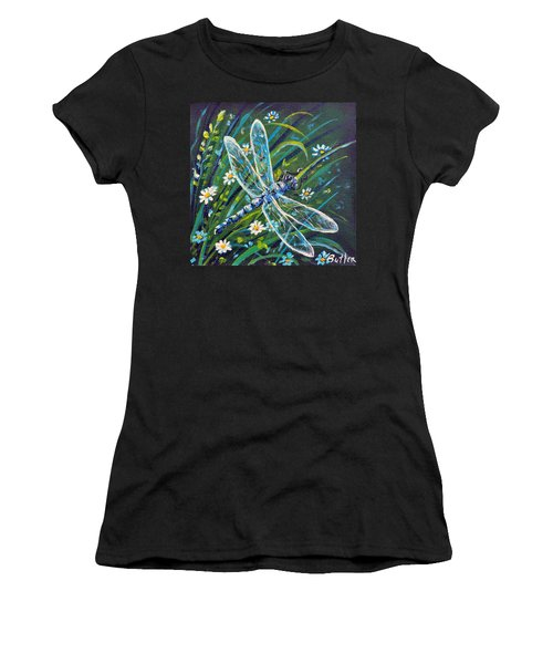Dragonfly And Daisies Women's T-Shirt (Athletic Fit)