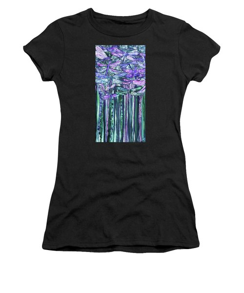 Women's T-Shirt featuring the mixed media Dragonfly Bloomies 2 - Lavender Teal by Carol Cavalaris