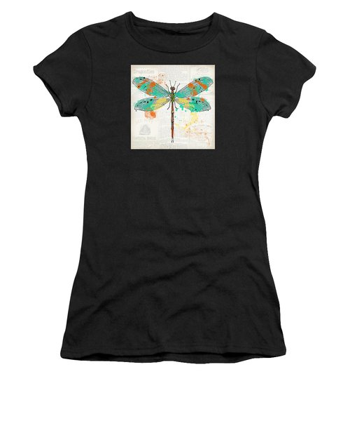 Dragonfly On Newsprint-jp3451 Women's T-Shirt