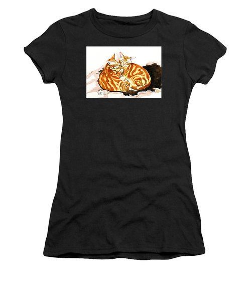 Dreaming Of Ginger - Orange Tabby Cat Painting Women's T-Shirt (Athletic Fit)