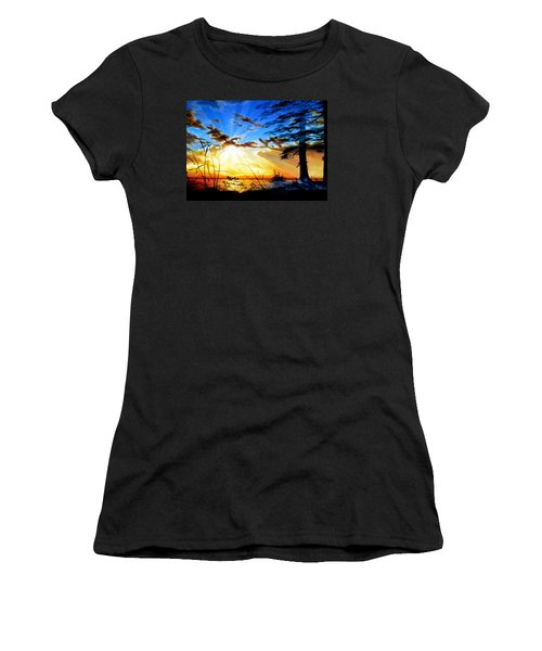 Women's T-Shirt (Athletic Fit) featuring the painting Dreams Of Sunrise Through The Pines by Hanne Lore Koehler