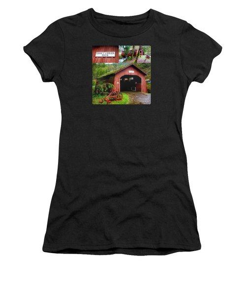 Drift Creek Covered Bridge Women's T-Shirt (Athletic Fit)